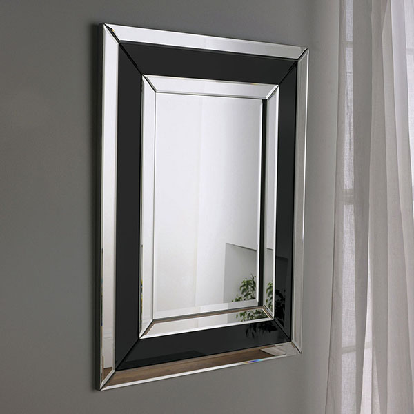Angled Flat Frame Art Deco Mirror With A Simple Elegant