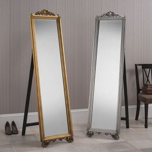 MILANO Cheval Mirror Gold Silver