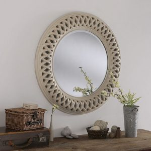 OV24 Round swept mirror ivory