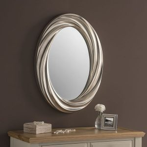 YG228 Oval Silver Leaf Mirror