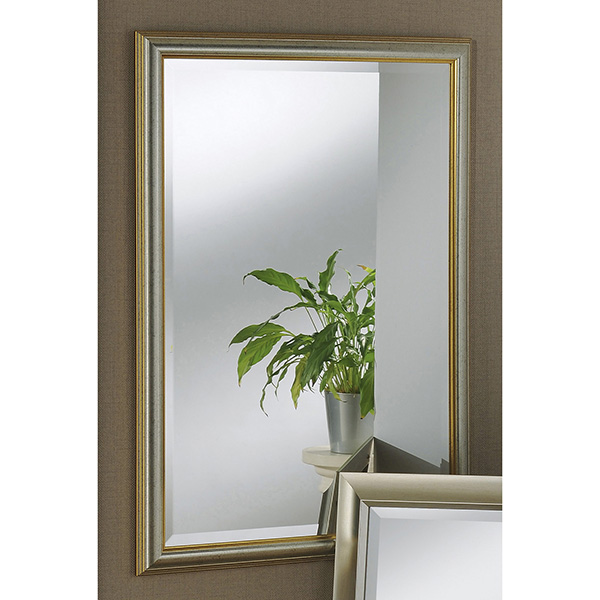 ff3ac21cd466 Bevelled mirror with slim two-toned silver gold frame and speckled ...