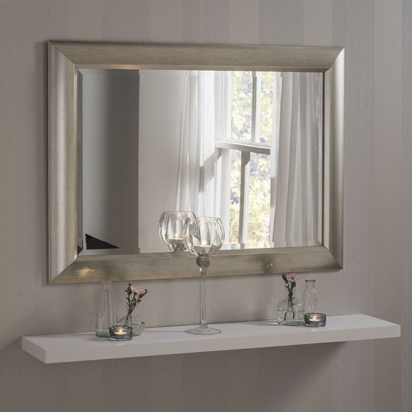 YG741 wide scooped frame mirror Silver