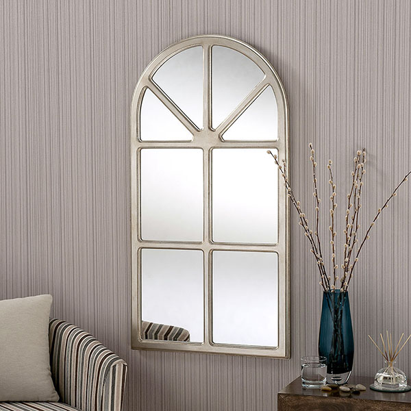 Classic window design mirror available in white or silver for Window design mirror